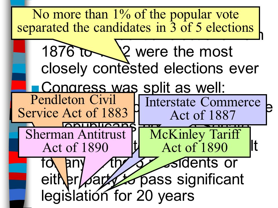 Politics of Stalemate ■The 5 presidential elections from 1876 to 1892 were the most closely contested elections ever ■Congress was split as well: –Dem