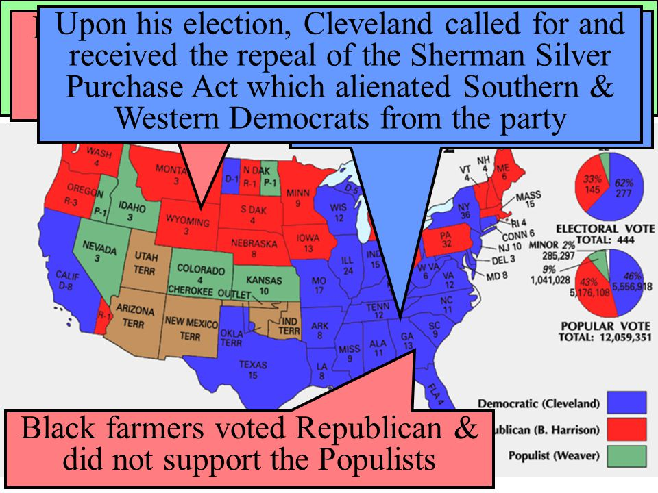 The Election of 1892 In 1892, the Populists ran presidential candidate James Weaver against Democrat Grover Cleveland & Republican Benjamin Harrison B