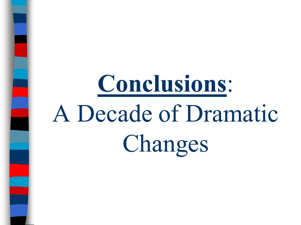 Conclusions: A Decade of Dramatic Changes