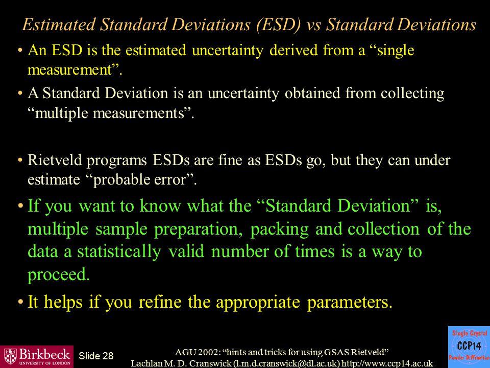 "AGU 2002: ""hints and tricks for using GSAS Rietveld"" Lachlan M. D. Cranswick (l.m.d.cranswick@dl.ac.uk) http://www.ccp14.ac.uk Slide 28 Estimated Stan"