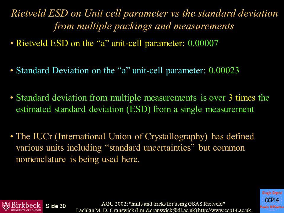 "AGU 2002: ""hints and tricks for using GSAS Rietveld"" Lachlan M. D. Cranswick (l.m.d.cranswick@dl.ac.uk) http://www.ccp14.ac.uk Slide 30 Rietveld ESD o"
