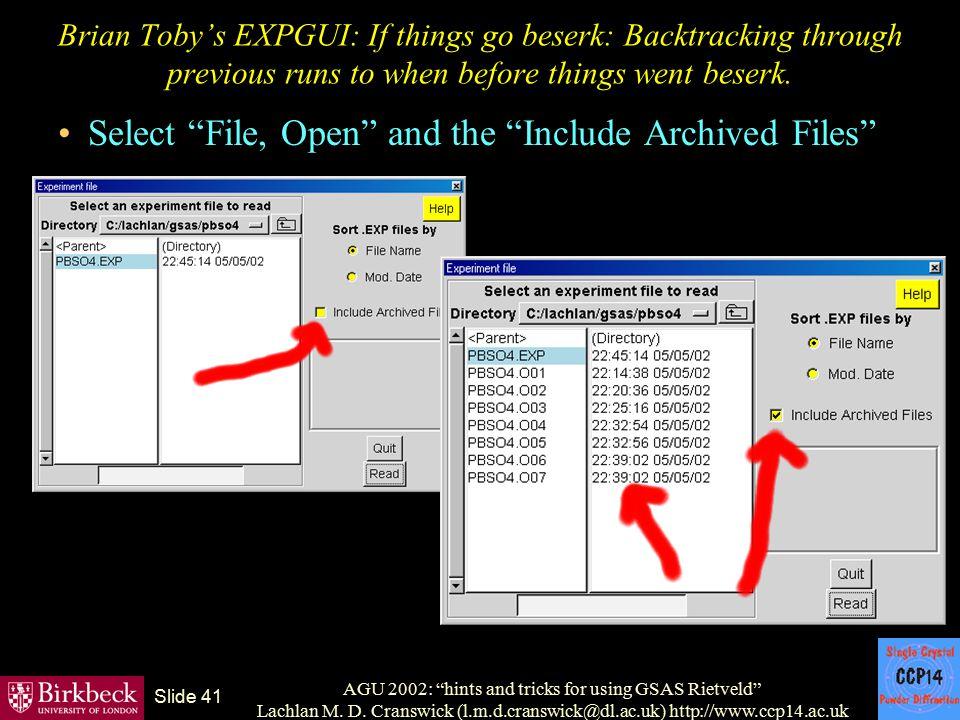 "AGU 2002: ""hints and tricks for using GSAS Rietveld"" Lachlan M. D. Cranswick (l.m.d.cranswick@dl.ac.uk) http://www.ccp14.ac.uk Slide 41 Brian Toby's E"