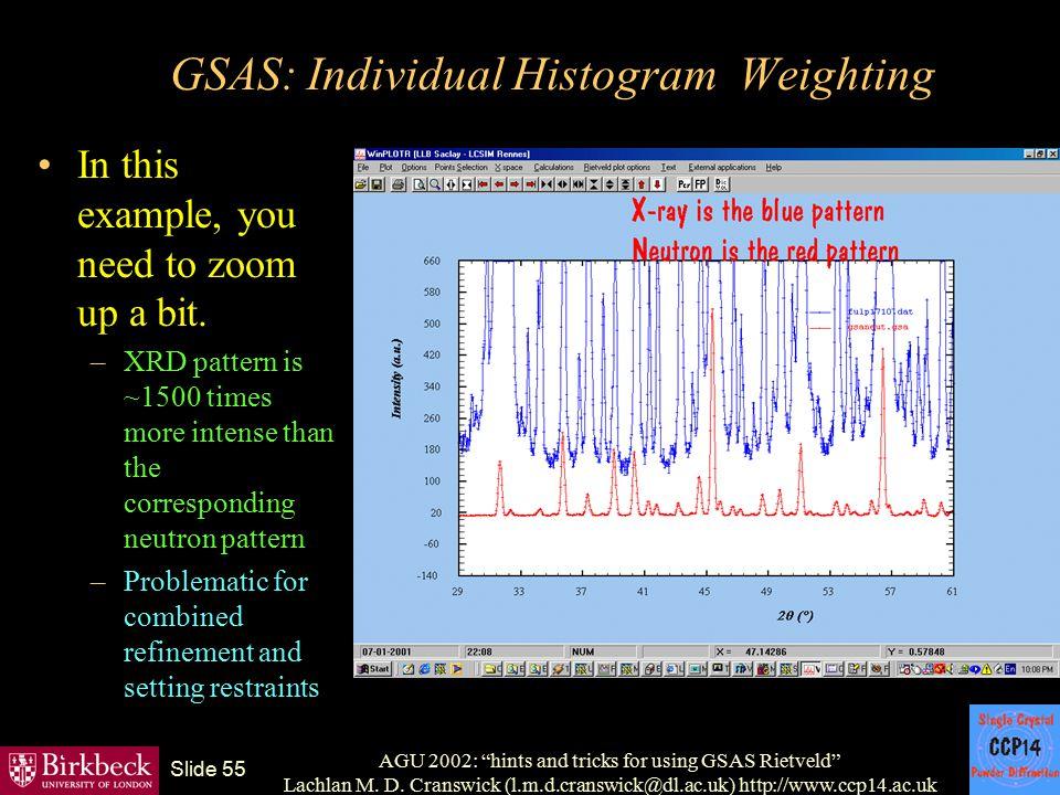 "AGU 2002: ""hints and tricks for using GSAS Rietveld"" Lachlan M. D. Cranswick (l.m.d.cranswick@dl.ac.uk) http://www.ccp14.ac.uk Slide 55 GSAS: Individu"