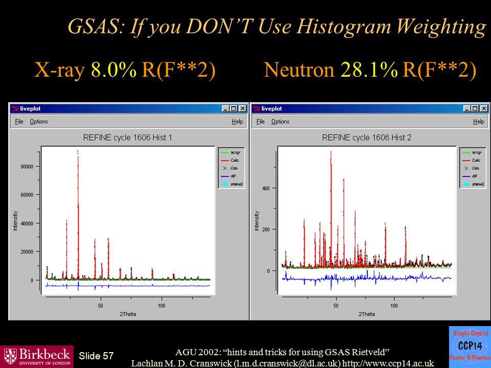 "AGU 2002: ""hints and tricks for using GSAS Rietveld"" Lachlan M. D. Cranswick (l.m.d.cranswick@dl.ac.uk) http://www.ccp14.ac.uk Slide 57 GSAS: If you D"