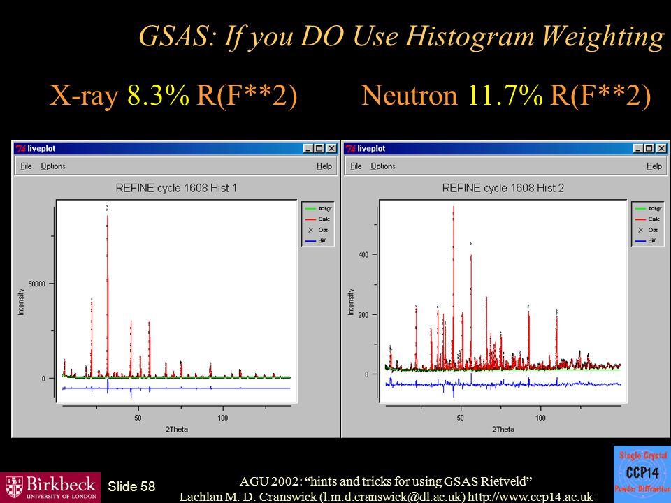 "AGU 2002: ""hints and tricks for using GSAS Rietveld"" Lachlan M. D. Cranswick (l.m.d.cranswick@dl.ac.uk) http://www.ccp14.ac.uk Slide 58 GSAS: If you D"