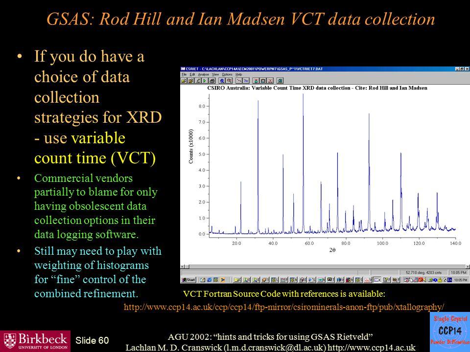 "AGU 2002: ""hints and tricks for using GSAS Rietveld"" Lachlan M. D. Cranswick (l.m.d.cranswick@dl.ac.uk) http://www.ccp14.ac.uk Slide 60 GSAS: Rod Hill"