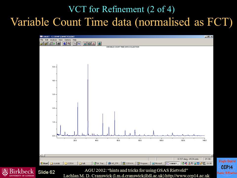 "AGU 2002: ""hints and tricks for using GSAS Rietveld"" Lachlan M. D. Cranswick (l.m.d.cranswick@dl.ac.uk) http://www.ccp14.ac.uk Slide 62 VCT for Refine"