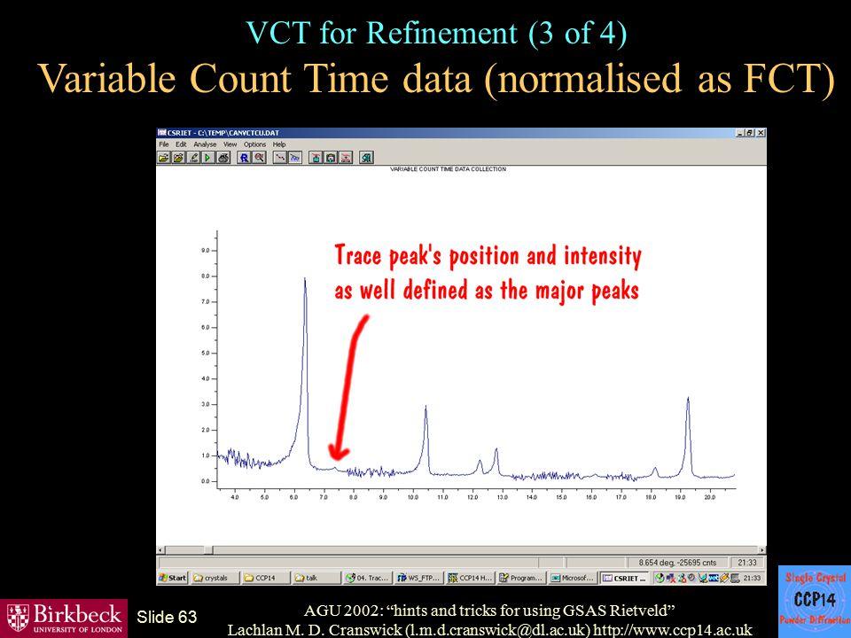 "AGU 2002: ""hints and tricks for using GSAS Rietveld"" Lachlan M. D. Cranswick (l.m.d.cranswick@dl.ac.uk) http://www.ccp14.ac.uk Slide 63 VCT for Refine"