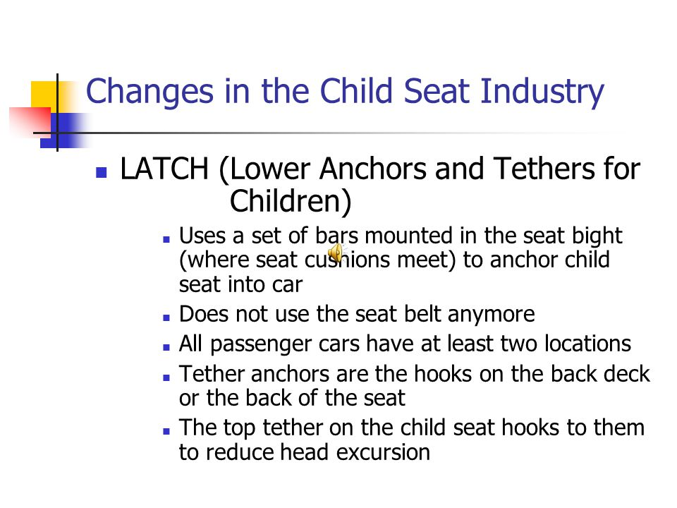 Changes in the Child Seat Industry LATCH (Lower Anchors and Tethers for Children) Uses a set of bars mounted in the seat bight (where seat cushions meet) to anchor child seat into car Does not use the seat belt anymore All passenger cars have at least two locations Tether anchors are the hooks on the back deck or the back of the seat The top tether on the child seat hooks to them to reduce head excursion