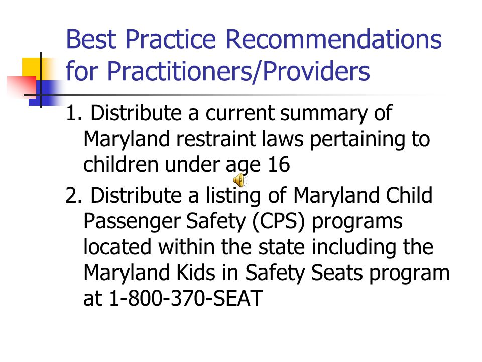 Best Practice Recommendations for Practitioners/Providers 1.