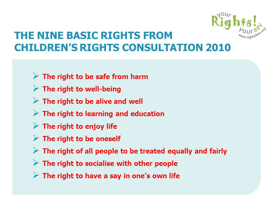 CHILDREN'S TOP TEN RIGHTS  To be protected from abuse  To have an education  To be helped to keep alive and well  Not to be discriminated against because of my race, colour, sex, language, disability, language or beliefs  Not to be treated or punished in a way that is cruel or meant to make me feel bad about myself  Special help for any child with a disability  To have privacy  Not to be bullied  To keep in touch with my parents, grandparents, brothers and sisters if I want to and they want to, wherever we all live  To have my private letters, phone calls, emails & messages kept confidential