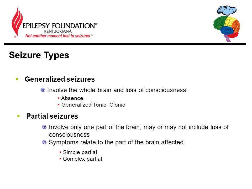 Seizure Types  Generalized seizures Involve the whole brain and loss of consciousness Absence Generalized Tonic -Clonic  Partial seizures Involve only one part of the brain; may or may not include loss of consciousness Symptoms relate to the part of the brain affected Simple partial Complex partial