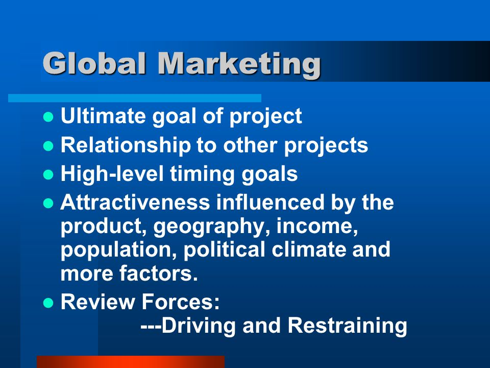 Global Marketing Ultimate goal of project Relationship to other projects High-level timing goals Attractiveness influenced by the product, geography,