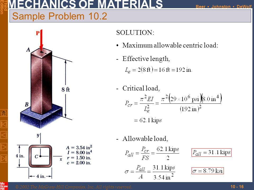 © 2002 The McGraw-Hill Companies, Inc. All rights reserved. MECHANICS OF MATERIALS ThirdEdition Beer Johnston DeWolf 10 - 16 Sample Problem 10.2 SOLUT