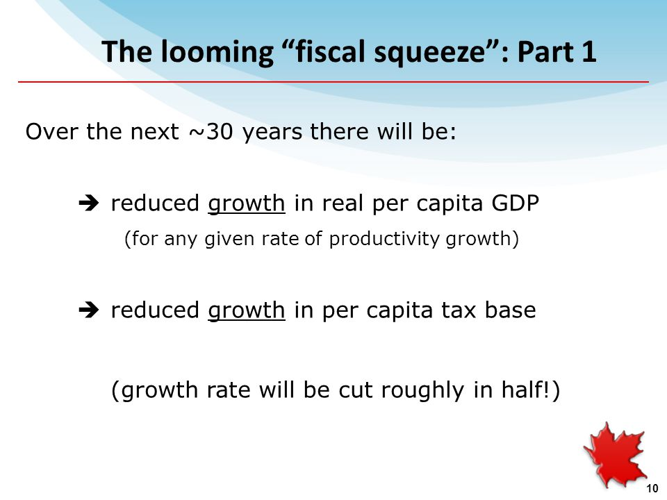 The looming fiscal squeeze : Part 1 Over the next ~30 years there will be:  reduced growth in real per capita GDP (for any given rate of productivity growth)  reduced growth in per capita tax base (growth rate will be cut roughly in half!) 10