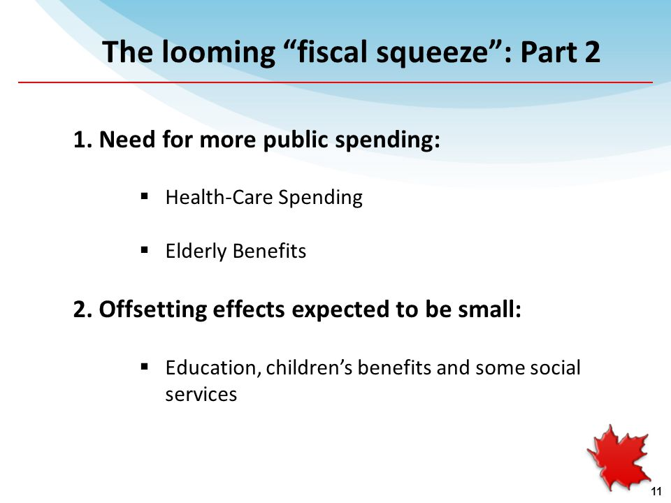 1. Need for more public spending:  Health-Care Spending  Elderly Benefits 2.