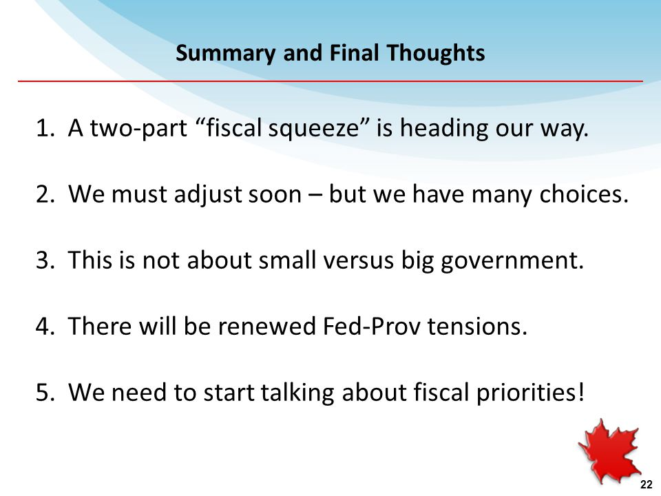 Summary and Final Thoughts 1.A two-part fiscal squeeze is heading our way.