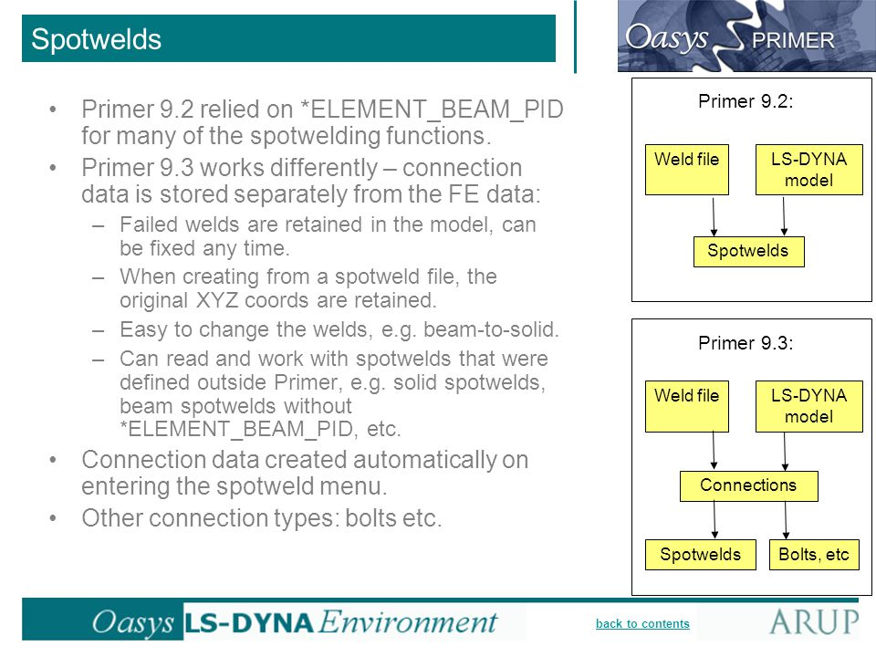 back to contents Primer 9.2 relied on *ELEMENT_BEAM_PID for many of the spotwelding functions. Primer 9.3 works differently – connection data is store