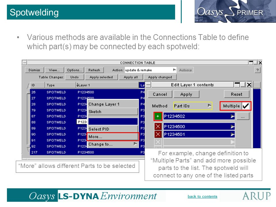 """back to contents Spotwelding Various methods are available in the Connections Table to define which part(s) may be connected by each spotweld: """"More"""""""