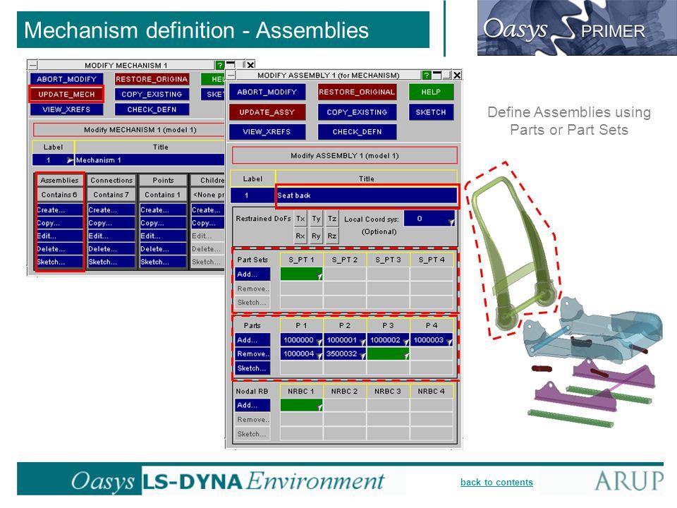 back to contents Mechanism definition - Assemblies Define Assemblies using Parts or Part Sets