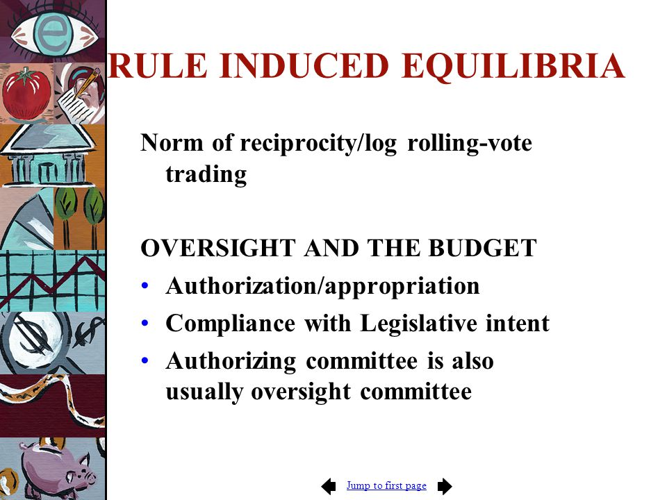 RULE INDUCED EQUILIBRIA Norm of reciprocity/log rolling-vote trading OVERSIGHT AND THE BUDGET Authorization/appropriation Compliance with Legislative intent Authorizing committee is also usually oversight committee