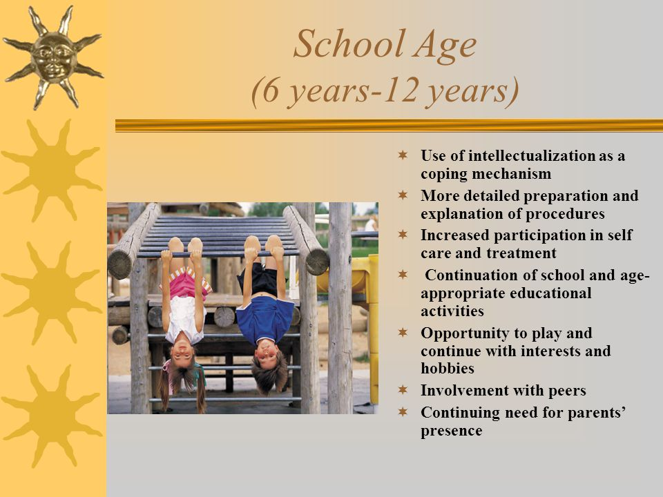 School Age (6 years-12 years)  Use of intellectualization as a coping mechanism  More detailed preparation and explanation of procedures  Increased