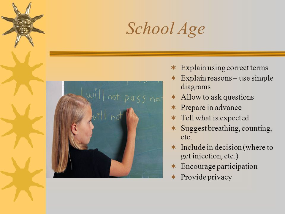 School Age  Explain using correct terms  Explain reasons – use simple diagrams  Allow to ask questions  Prepare in advance  Tell what is expected