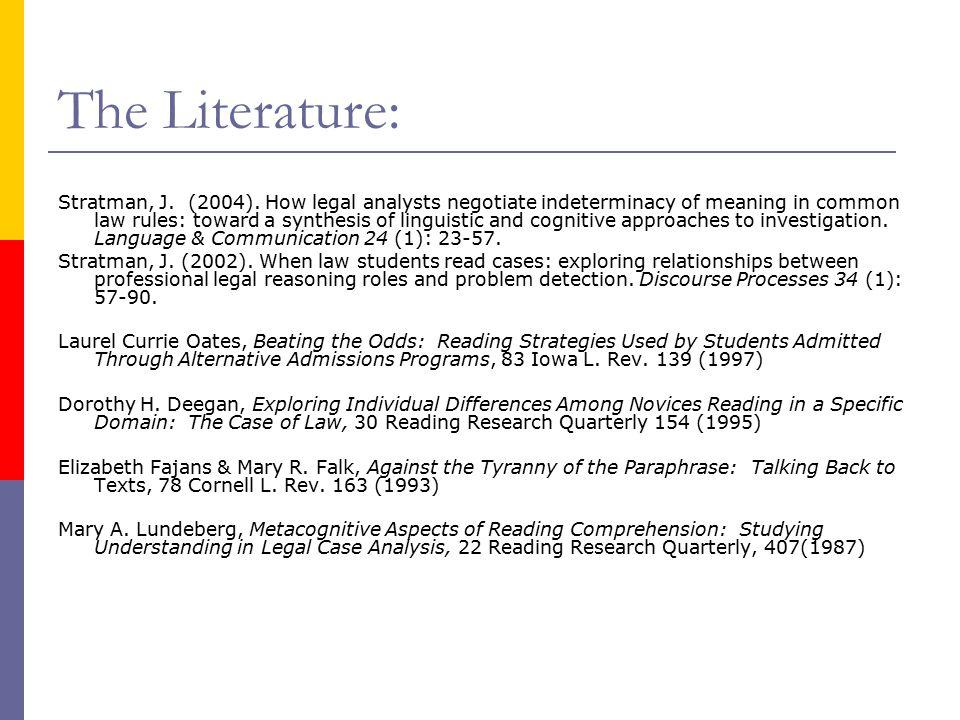 The Literature: Stratman, J. (2004).