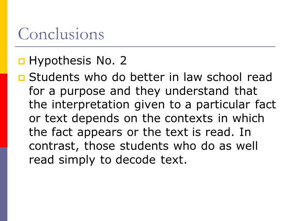 Conclusions  Hypothesis No.