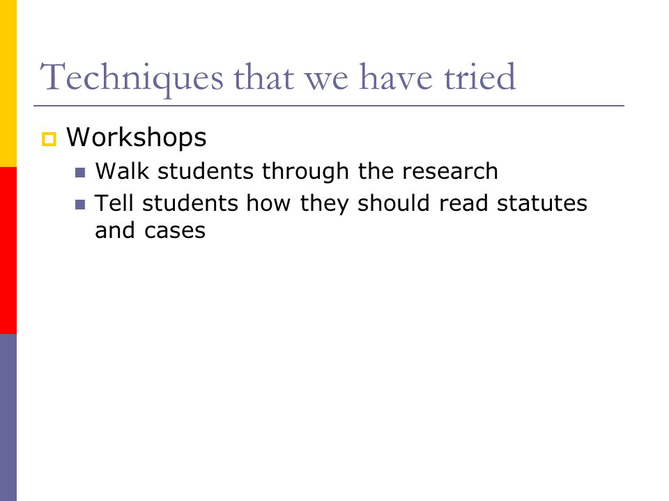 Techniques that we have tried  Workshops Walk students through the research Tell students how they should read statutes and cases