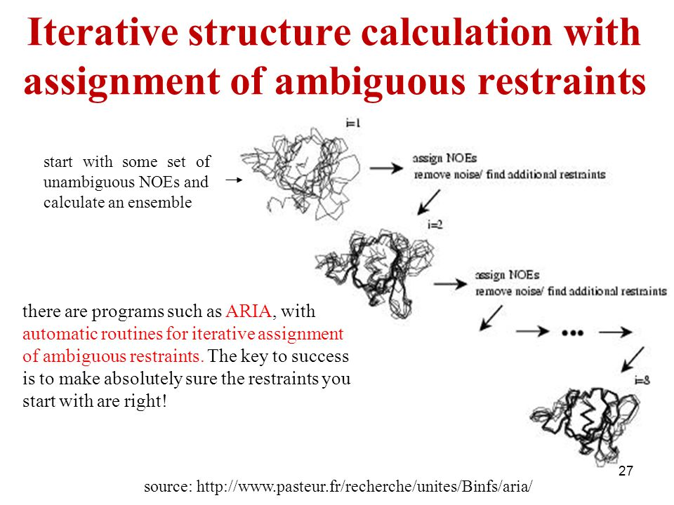 Iterative structure calculation with assignment of ambiguous restraints source: http://www.pasteur.fr/recherche/unites/Binfs/aria/ there are programs