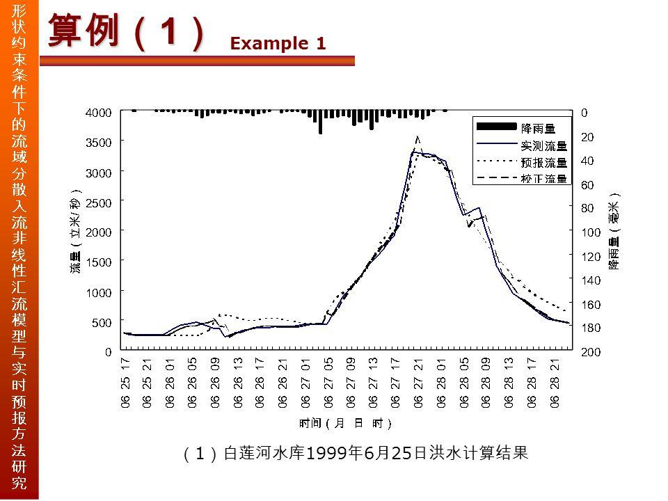 算例( 1 ) Example 1 ( 1 )白莲河水库 1999 年 6 月 25 日洪水计算结果