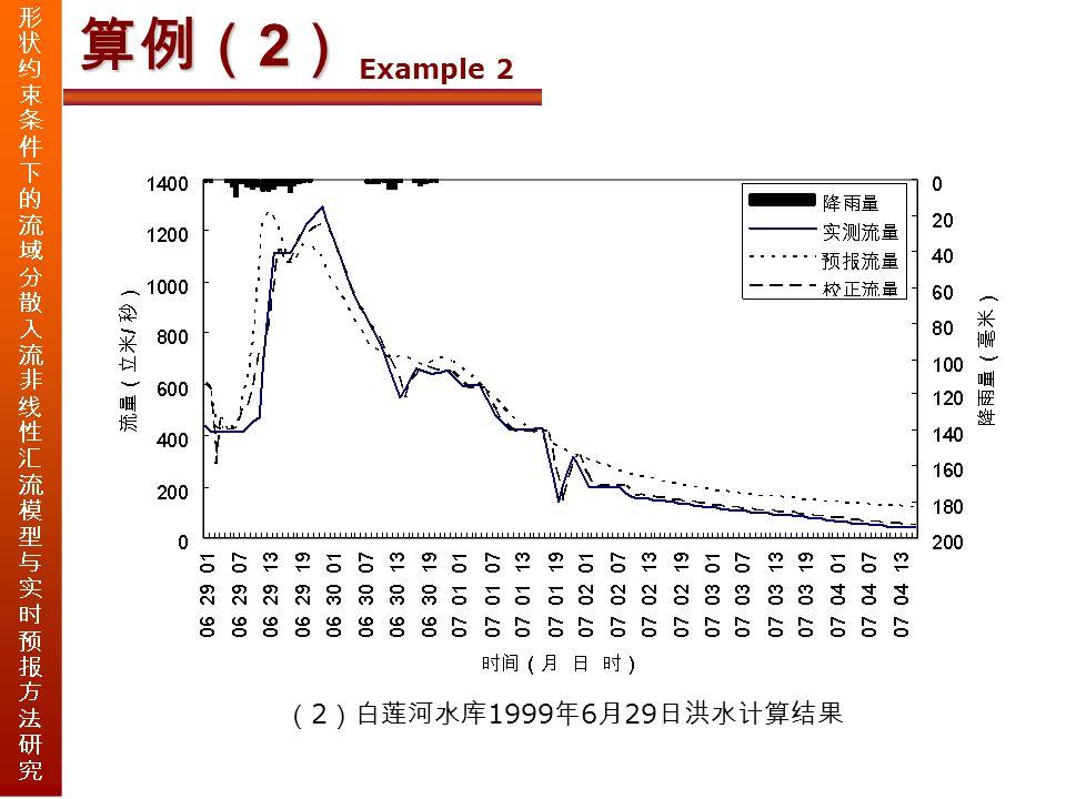 算例( 2 ) Example 2 ( 2 )白莲河水库 1999 年 6 月 29 日洪水计算结果