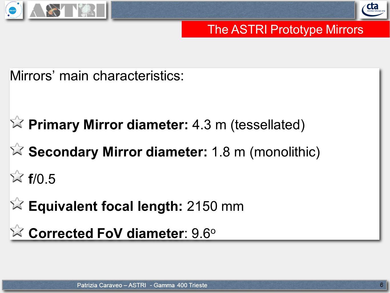 Patrizia Caraveo – ASTRI - Gamma 400 Trieste 6 The ASTRI Prototype Mirrors Mirrors' main characteristics: Primary Mirror diameter: 4.3 m (tessellated) Secondary Mirror diameter: 1.8 m (monolithic) f/0.5 Equivalent focal length: 2150 mm Corrected FoV diameter: 9.6 o Mirrors' main characteristics: Primary Mirror diameter: 4.3 m (tessellated) Secondary Mirror diameter: 1.8 m (monolithic) f/0.5 Equivalent focal length: 2150 mm Corrected FoV diameter: 9.6 o