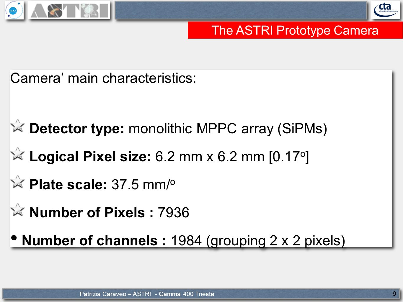 Patrizia Caraveo – ASTRI - Gamma 400 Trieste 20 CTA seed Coupling the SSTs miniarray with 2 MSTs would constitute the first real CTA precursor.