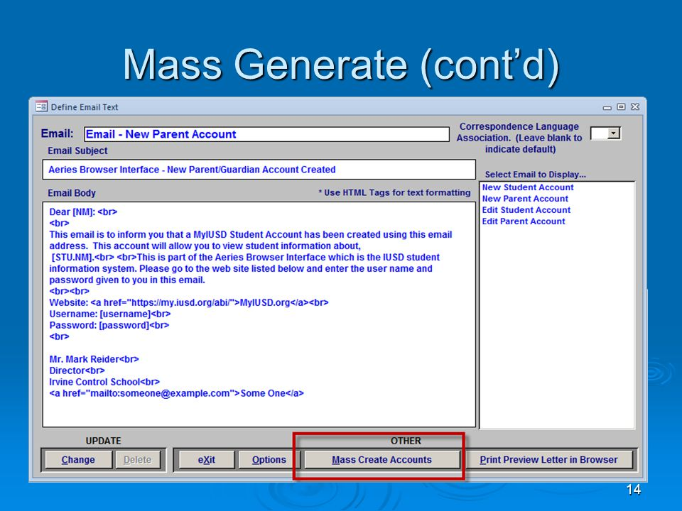 14 Mass Generate (cont'd)