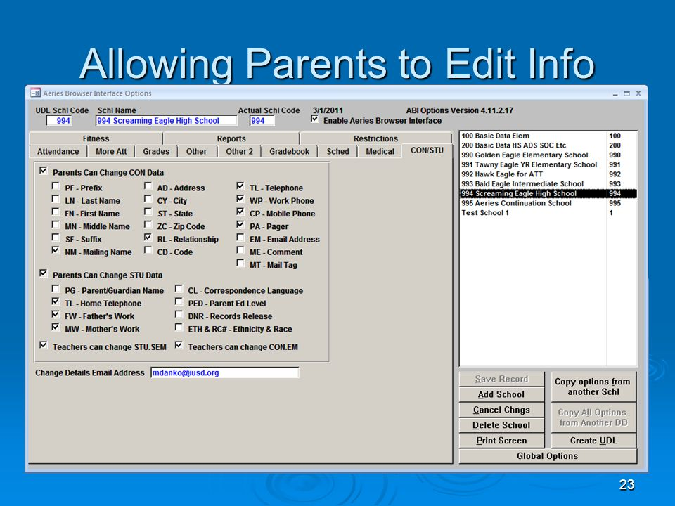 23 Allowing Parents to Edit Info
