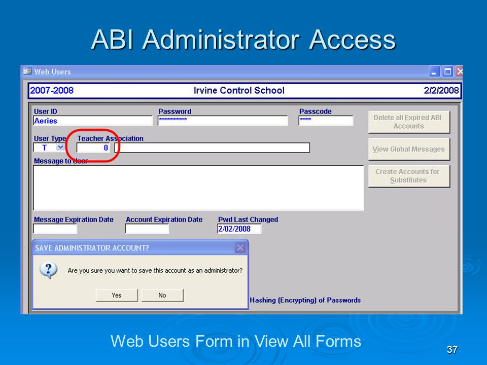 37 ABI Administrator Access Web Users Form in View All Forms
