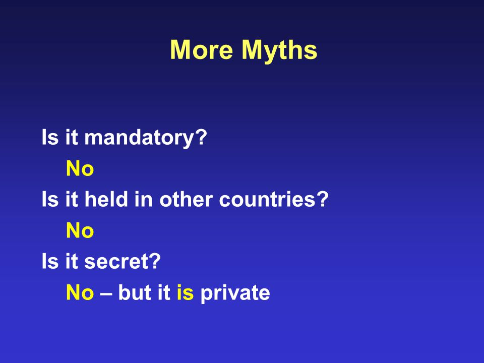 More Myths Is it mandatory. No Is it held in other countries.