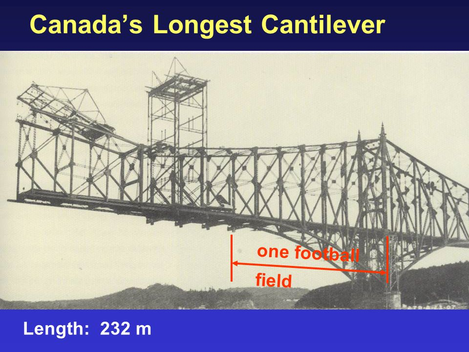 Canada's Longest Cantilever Length: 232 m one football field