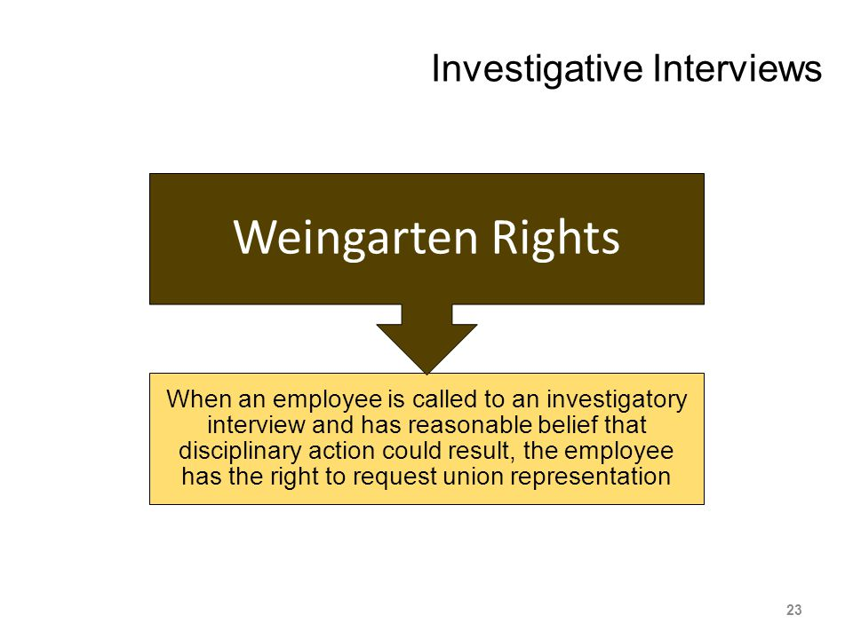 Investigative Interviews When an employee is called to an investigatory interview and has reasonable belief that disciplinary action could result, the