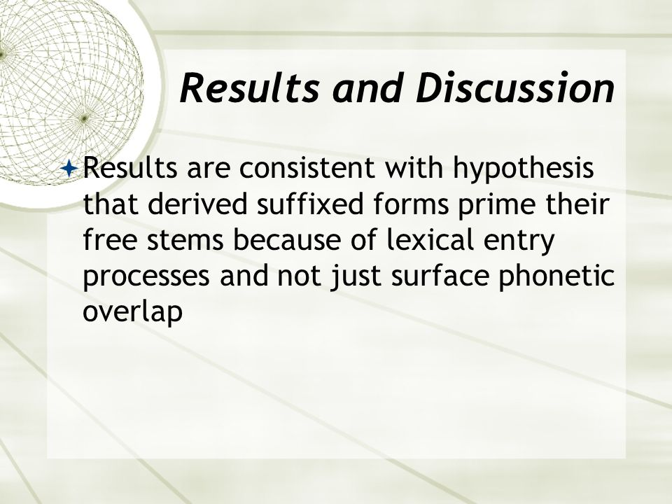 Results and Discussion  Results are consistent with hypothesis that derived suffixed forms prime their free stems because of lexical entry processes and not just surface phonetic overlap