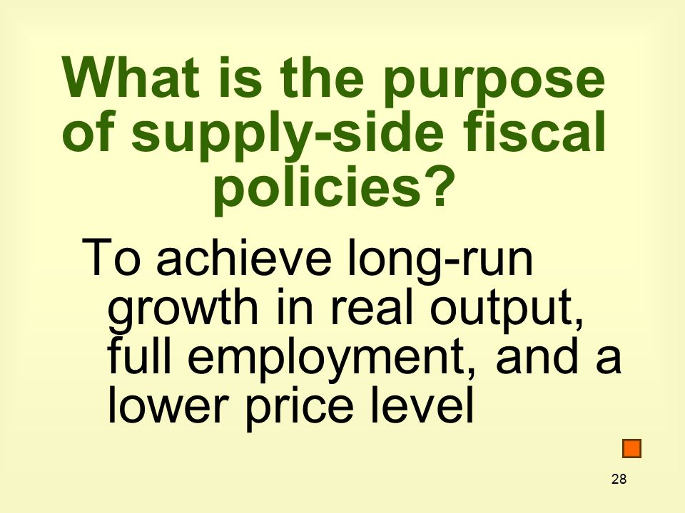 28 What is the purpose of supply-side fiscal policies.