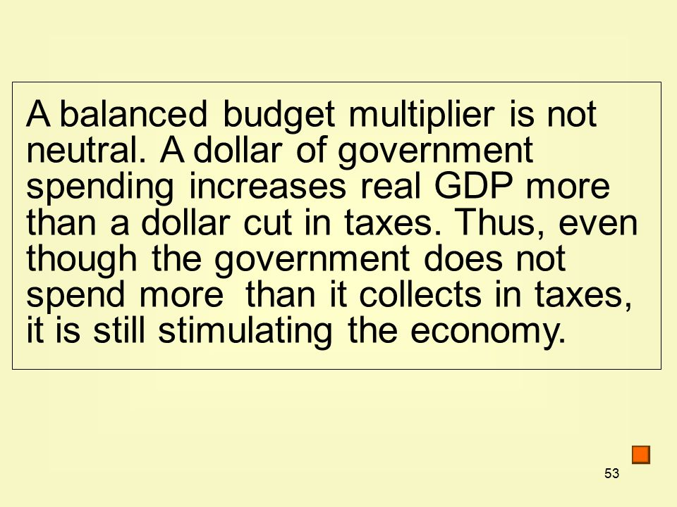53 A balanced budget multiplier is not neutral.