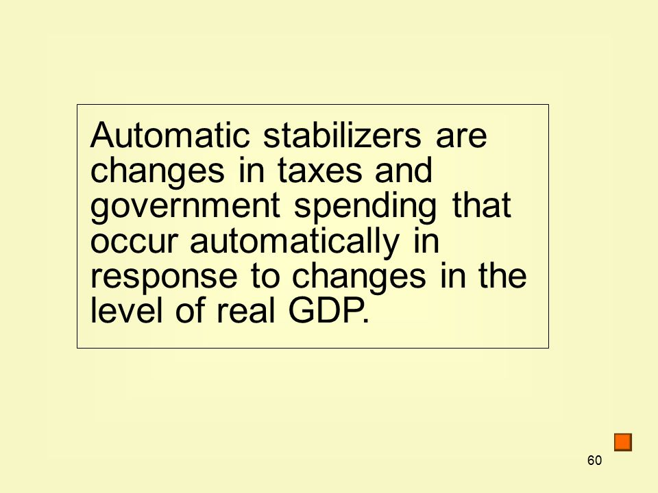 60 Automatic stabilizers are changes in taxes and government spending that occur automatically in response to changes in the level of real GDP.