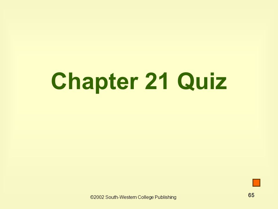 65 Chapter 21 Quiz ©2002 South-Western College Publishing