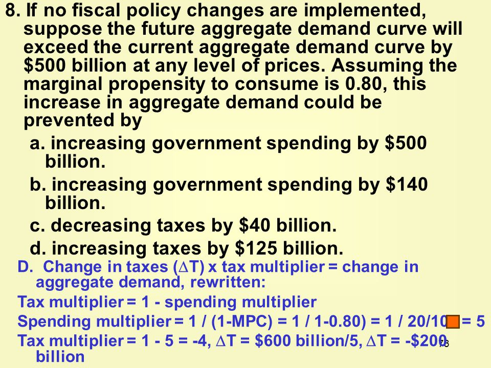 73 8. If no fiscal policy changes are implemented, suppose the future aggregate demand curve will exceed the current aggregate demand curve by $500 bi
