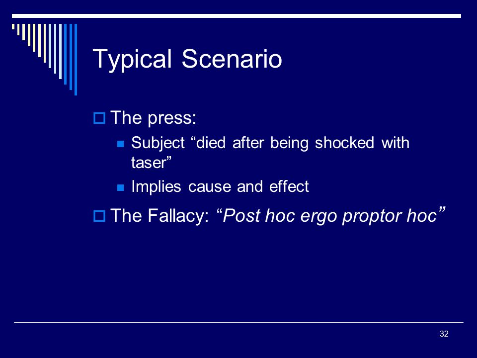 """32 Typical Scenario  The press: Subject """"died after being shocked with taser"""" Implies cause and effect  The Fallacy: """"Post hoc ergo proptor hoc """""""
