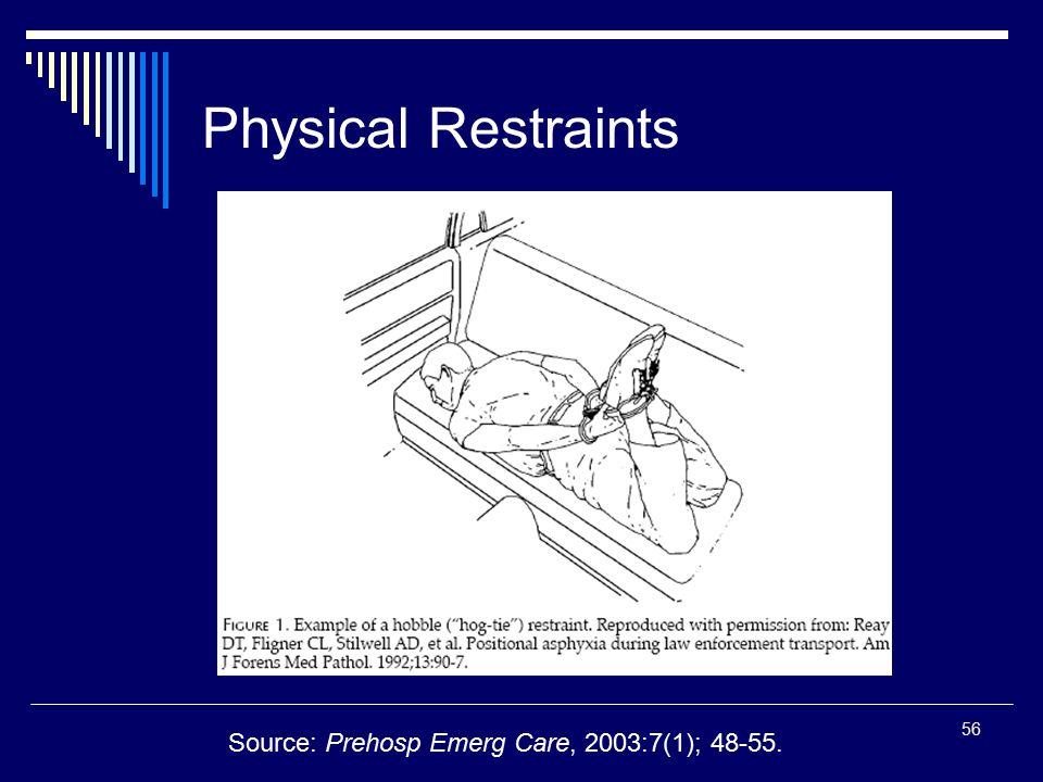 56 Physical Restraints Source: Prehosp Emerg Care, 2003:7(1); 48-55.