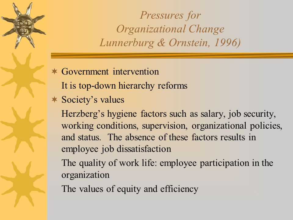 Pressures for Organizational Change Lunnerburg & Ornstein, 1996)  Government intervention It is top-down hierarchy reforms  Society's values Herzber